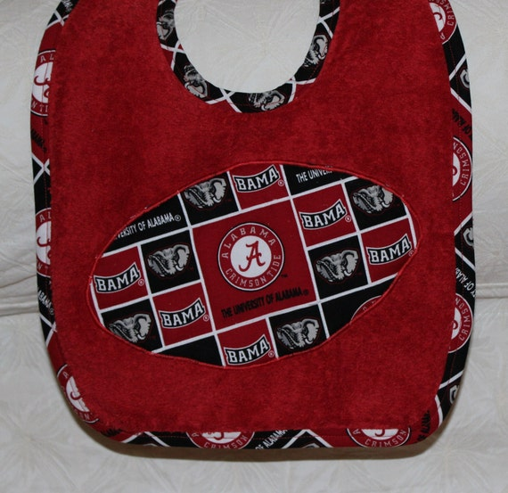 Alabama Baby Crimson Tide Football Baby Bib on a Red Bib with