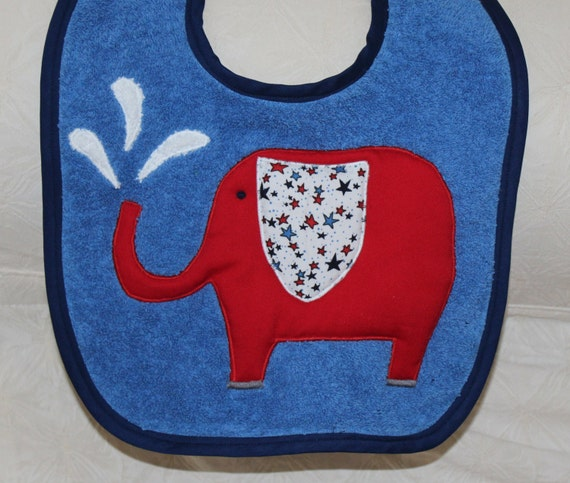Elephant Baby Boy Baby Bib with a Red Elephant and Fun Star Print Ear on a Blue Bib or a Navy Bib or a Red Bib with Solid or Patterned Trim