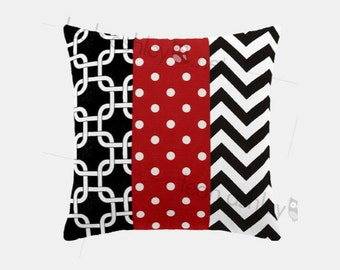 Patchwork Square Pillow Cover - Red, Black, White - Mason  - P1