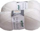 Solid uni 100gr German self striping superwash sock yarn Grundl, color White