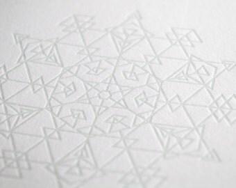 Subtle Snowflake Letterpress Card- Diamonds