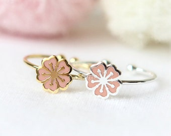 Cherry Blossom Ring / Flower ring, adjustable ring, Choose your color / gold and silver