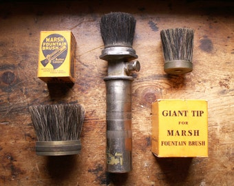 Vintage Marsh Stencil Brush with Extra Brush Tips - Great Industrial Decor