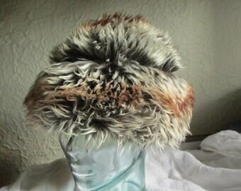 1960s Vintage Mod Tuscan Lamb Fur hat med/lg