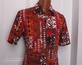 50s Vintage Men's Tiki Barkcloth Hawaiian Shirt large