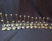 24 Vintage Assorted Simple Graduated Solid Brass Tulip Style Candlesticks, Candle Holders, Brass Decor, Wedding BR100