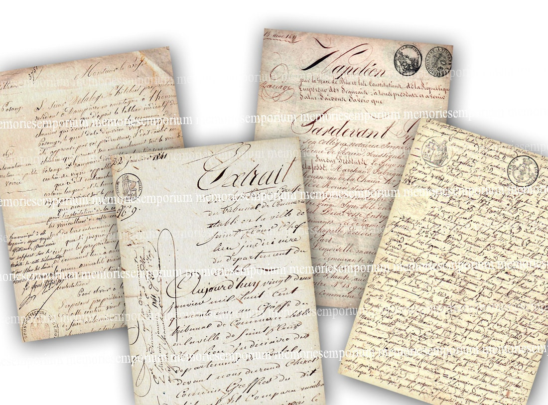 French Handwriting Digital Paper Clipart Antique Documents