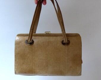 ON SALE Vintage mid century Mad men pale lizard skin handbag