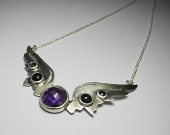 Hermes Wings Pendant with amethyst and tourmaline