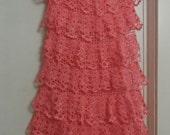 Crochet lace pink cotton womens girls bohemian hippie eco maxi romantic wedding beach long skirt with ruffles
