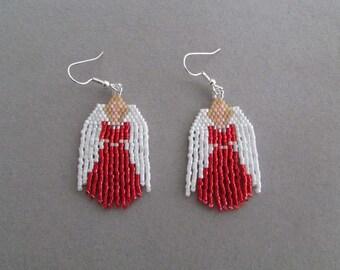 Beaded Angel oorbellen in het rood