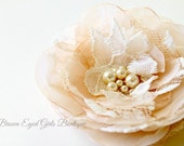 Champagne and Lace Bridal Flower Hair Clip, Champagne and Ivory Lace Wedding Hair Accessory