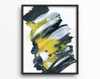Black and White Abstract Print, Dandelion Yellow Decor, Yellow Artwork, Black and Yellow Decor,