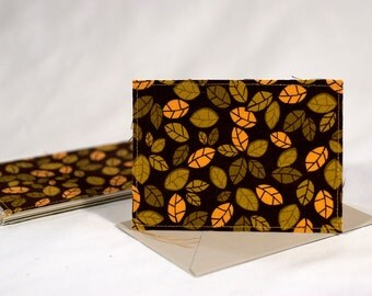 Fabric Fold-Over Card, Blank Notecard, Any Occasion Card, Small Thank You Card, Autumn Greeting Card, set of 4 cards: Leaf