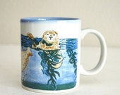 20% off SALE - Vintage 80s Otagiri Japan Sea Otter Coffee Cup Mug Ocean Cup