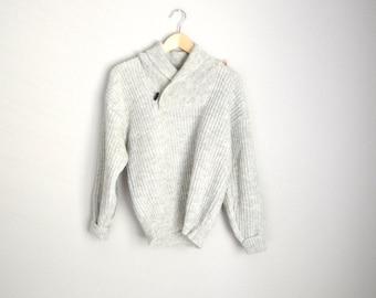 Vintage Samband of Iceland Shawl Neck Heather Gray Tan Sweater Pullover // mens medium
