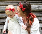 Mommy and Me Matching Headbands, Red Bow Headbands, Baby Shower Gift, Kids Photo Props, Mom and Baby Christmas Headbands, CUSTOM COLORS