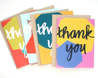 Thank You Cards - Thank You Note Card Set of 8 - Geometric Thank You Cards