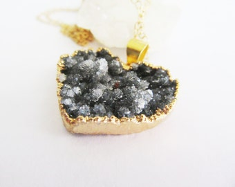 Crystal Druzy Necklace// Raw Crystal Jewelry// Gold Dipped Pendant