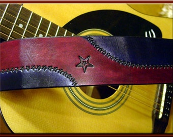 WAVE OF STARS Design • A Beautifully Hand Tooled, 100% Hand Crafted Leather Guitar Strap