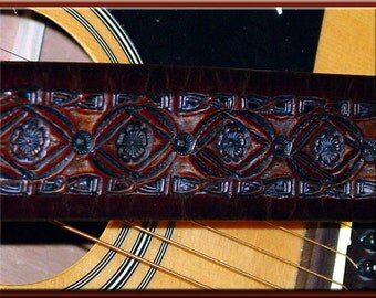 BAMBOO BORDER & FLOWER Design • A Beautifully Hand Tooled, Hand Crafted Leather Guitar Strap