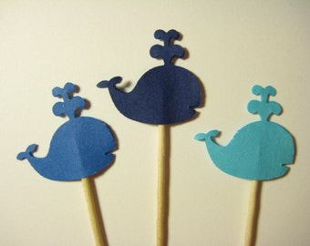 24 Mixed Blue Whale Party Picks - Cupcake Toppers - Toothpicks - Food Picks -  FP623