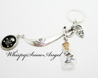 Pirate Keychain Pirate Sword Key Chain Buccaneer Swashbuckler Skull and Crossbones Charm Small Glass Pirate Bottle 274