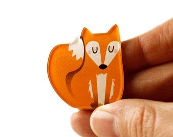 Fox Brooch, Fox Pin, Badge, Acrylic Brooch, Acrylic Glass