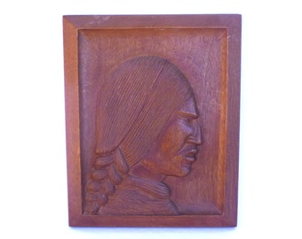 Vintage RELIEF Carving INDIAN HEAD/ Native American Art