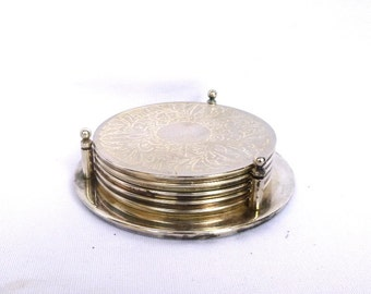 Vintage SILVER PLATE COASTERS