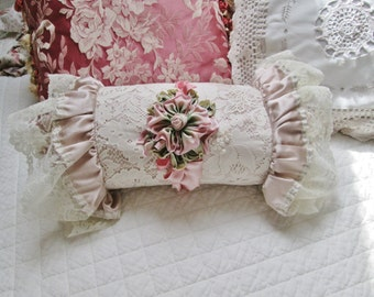 shabby chic pink lace pillow bolster round ribbon embroidery cushion