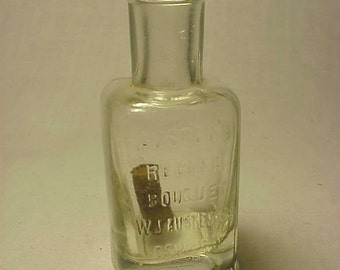 c1890s Austen's Regina Bouquet W. J. Austen & Co. Oswego, N.Y., Cork Top Blown Clear Glass Perfume Bottle
