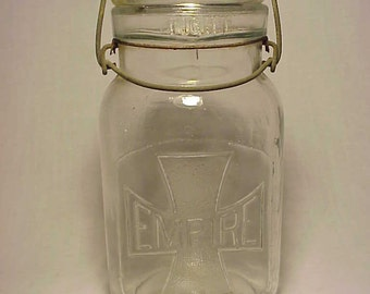 c1915 Empire Quart Fruit Jar Canning Jar in Clear in Color, with Cross