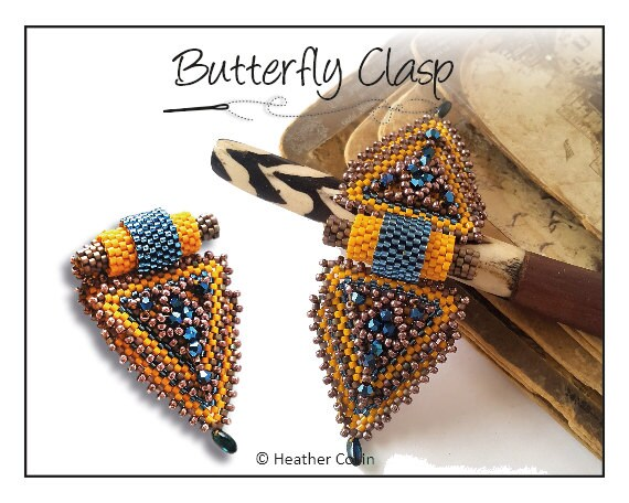 Beading Pattern, Instructions, Tutorial, Peyote stitch, Triangle shaped, Beaded Snap on Clasp, Delica Beads Instant Download BUTTERFLY CLASP