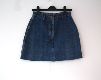cut off denim skirt