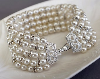 Bridal Pearl Rhinestone Bracelet Crystal Bracelet White Gold Filled Crystal Clasp Wedding Jewelry White or Ivory Pearl BL071LX