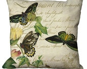 Butterflies & Blossoms in Choice of 14x14 16x16 18x18 20x20 22x22 24x24 26x26 inch Pillow Cover
