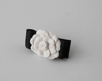 Camellia Chanel Leather Chanel  Ring Handmade Camellia Chanel Inspired  Ring White Camellia Leather Elegant Ring Chanel inspired jewelry
