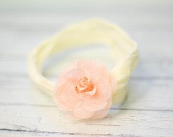 Ivory and Peach Flower // Super Soft Nylon Baby Headband, BABY HEADBAND, newborn headband, headband, flower headband, Photography Prop