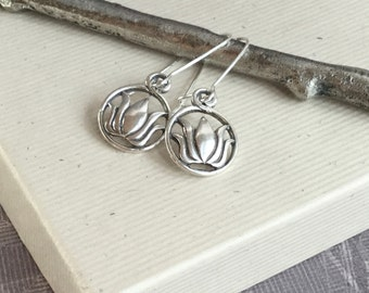 Sterling silver lotus earrings, yoga jewelry, lotus flower, minimalist, lotus charm, everyday jewelry E297