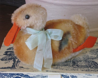 Vintage gorgeous Steiff  Mohair Plush Stuffed Toy duck Germany 1950's