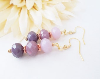 Ombre Earrings, Lavender Earrings, Gift for Daughter, Lilac Beaded Earrings, Dark Purple Earrings, Czech Glass Earrings, Clip On Earrings