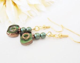 Dark Green Pearl Earrings, Greek Earrings, Copper Clip On Earrings, Glass Drop Earrings, Ethnic Gypsy Beaded Boho Jewelry, Gift for Daughter