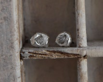 Raw rough natural  uncut  Diamond-post back-stud earrings- organic silver-free form-handctafted