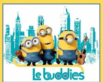 Minions Turquoise/Yellow Le Buddies 36x44 panel premium cotton quilting fabric from Quilting Treasures