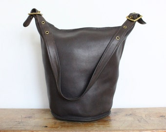 Vintage COACH Duffle Bag // NYC Feed Bucket Bag Pre 9085 Brown Leather Tote