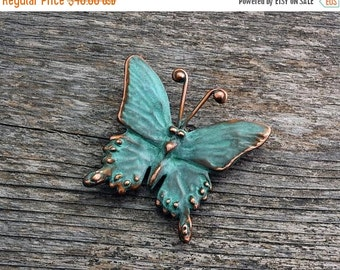 Spring Sale 10% Swallowtail Butterfly Brooch - blue green copper patina