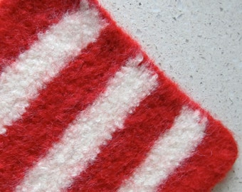 Felted wool hot pad in red & winter white stripes