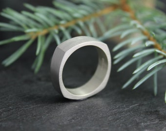 Sterling Silver Square Band, 6mm Brushed Silver Ring, Stackable Ring, Wide Silver Ring, Eco Friendly Ring, Ready to Ship 7-9