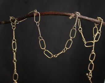 Handmade Gold Chain, Solid 14k Yellow Gold Chain Link Necklace, One of a Kind, Recycled Gold, Anniversary Gift, Ready to Ship Neckwear
